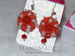 "Ceramic earrings ""Flower princess"""