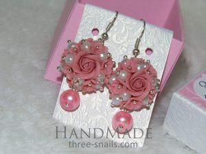 "Ceramic earrings ""Pink pearl"""