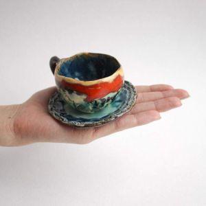 """Ceramic espresso cup and plate """"Shelves"""""""