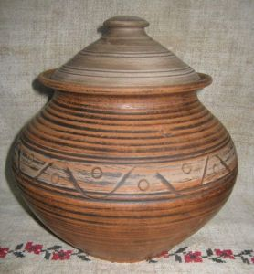"""Ceramic pot for cooking  """"Red sunset"""""""