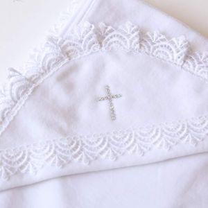 Christening blanket with rhinestones