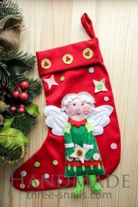 """Christmas stocking """"Angel"""" with applique"""