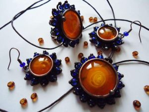 """Copper and crystal jewellery set """"Bohemic"""""""