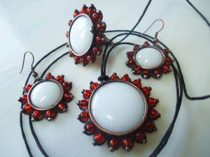 """Copper jewelry set """"White Sun"""". Earrings"""