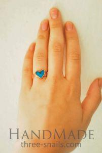 "Copper ring ""Heart"" Blue"