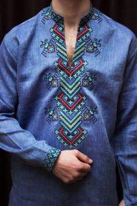 Creative embroidery shirt «Sapphire»