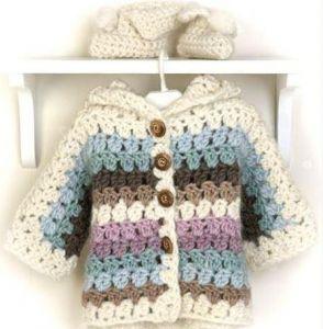 "Newborn knitted jacket ""Rainbow"""