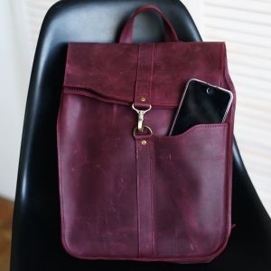 Burgundy real leather backpack