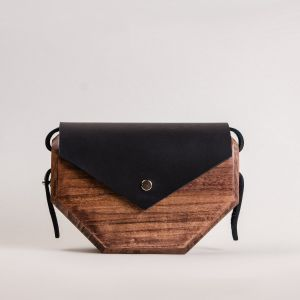 Wood and leather bag