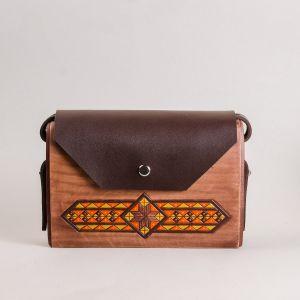 Brown leather wood bag