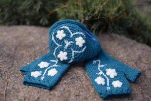 """Ear muffs and mittens set """"Blue tenderness"""""""