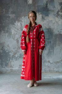 "Embroidered boho dress ""Red temptation"""