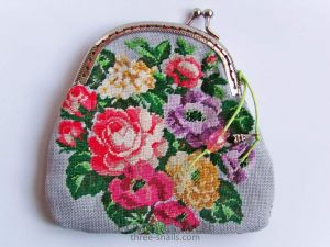 """Embroidered coin purse """"Rosy mood"""""""