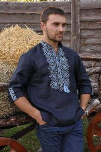 """Embroidered mens shirt """"Power of the land"""""""