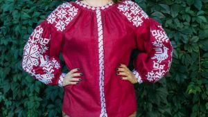 "Embroidered peasant blouse ""Vinous gleam"""