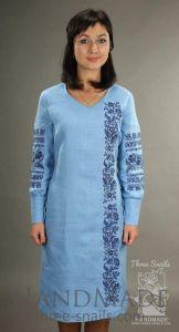 "Embroidered tunic dress ""Blue rain"""