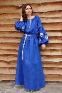"Embroidered woman dress ""Cobalt rose"""