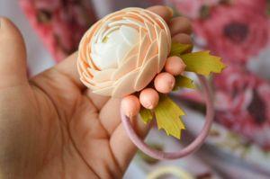 "Flower girl hair accessories ""Peach flower"""