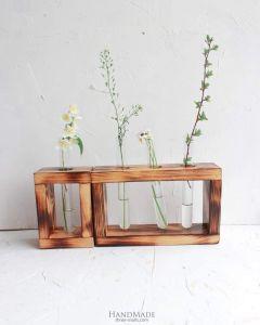 Flower glass tube bud vase holder set of 2