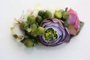 "Flower hair clips ""Green berries"""