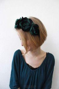 """Flower headband """"Emerald touch"""""""