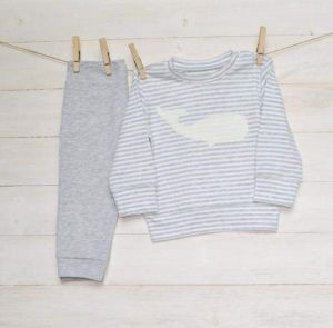 """Grey baby suit """"Whale"""". Unisex baby clothes"""