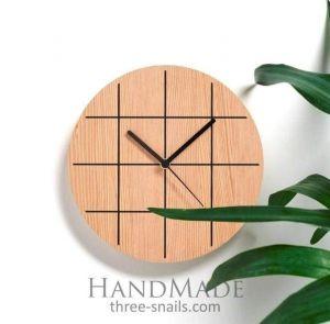 Grid Wooden Wall Clock