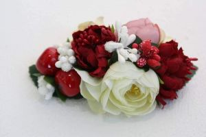 """Hair flower clips """"Red and white"""""""