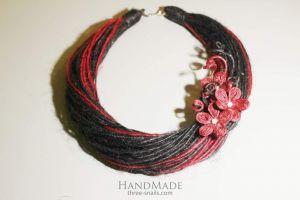"Handmade Brooch Necklace ""Pink Flowers"""