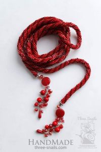 Handmade Transforming Necklace «Corall lariat»