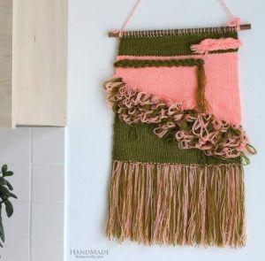 "Handmade wall decor ""Pink-green hanging"""