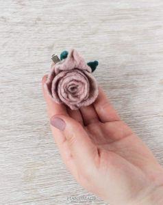 """Handmade woolen brooches """"Pink rose"""""""