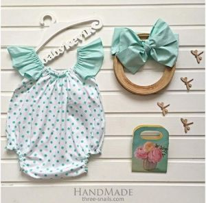 Infant girl minty dots romper with headpiece