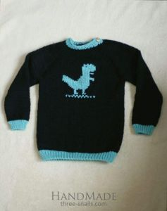"""Knitted baby sweater """"Dino"""""""