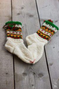 "Knitted wool socks ""Festive"""