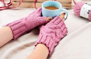 Knitted wrist warmers kids and adult