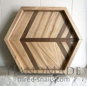 Large wooden hexagon tray