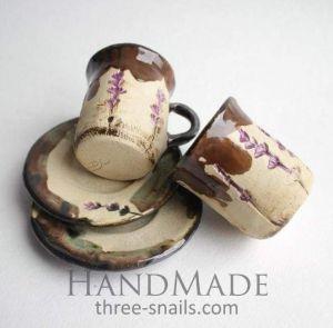 """Lavender ceramic set """"Romantic date"""""""