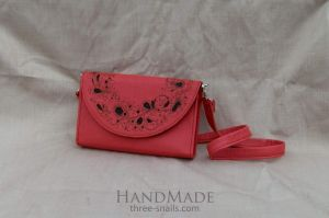 """Leather clutch bag """"Coral flowers"""""""