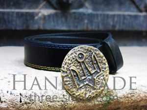 Leather mens belt «Trident of Yaroslav the Wise»