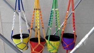 "Macrame flower pot hangers ""Rainbow"""