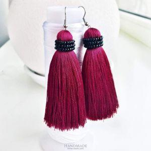 Marsala beaded tassel earrings