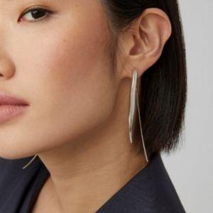 Narrow sterling silver earrings