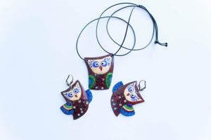"""Necklace and earrings set """"Owl"""""""