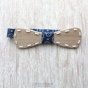 """Oak wood bow tie """"Blue line"""""""