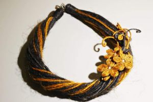 """Organic Brooch Necklace """"First flowers"""""""
