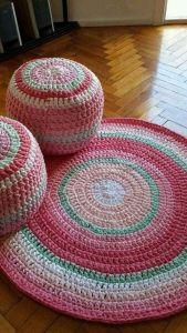 Pink round playroom rug