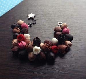 "Polymer clay bracelet ""Coffee rose"""