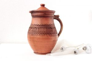"""Pottery pitcher  """"Embroidered towel"""""""