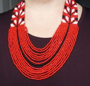 """Red beaded necklace """"Oreol"""""""